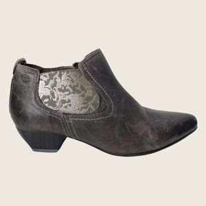 Josef Seibel Gray Distressed Leather Pointed Toe Ankle Boots